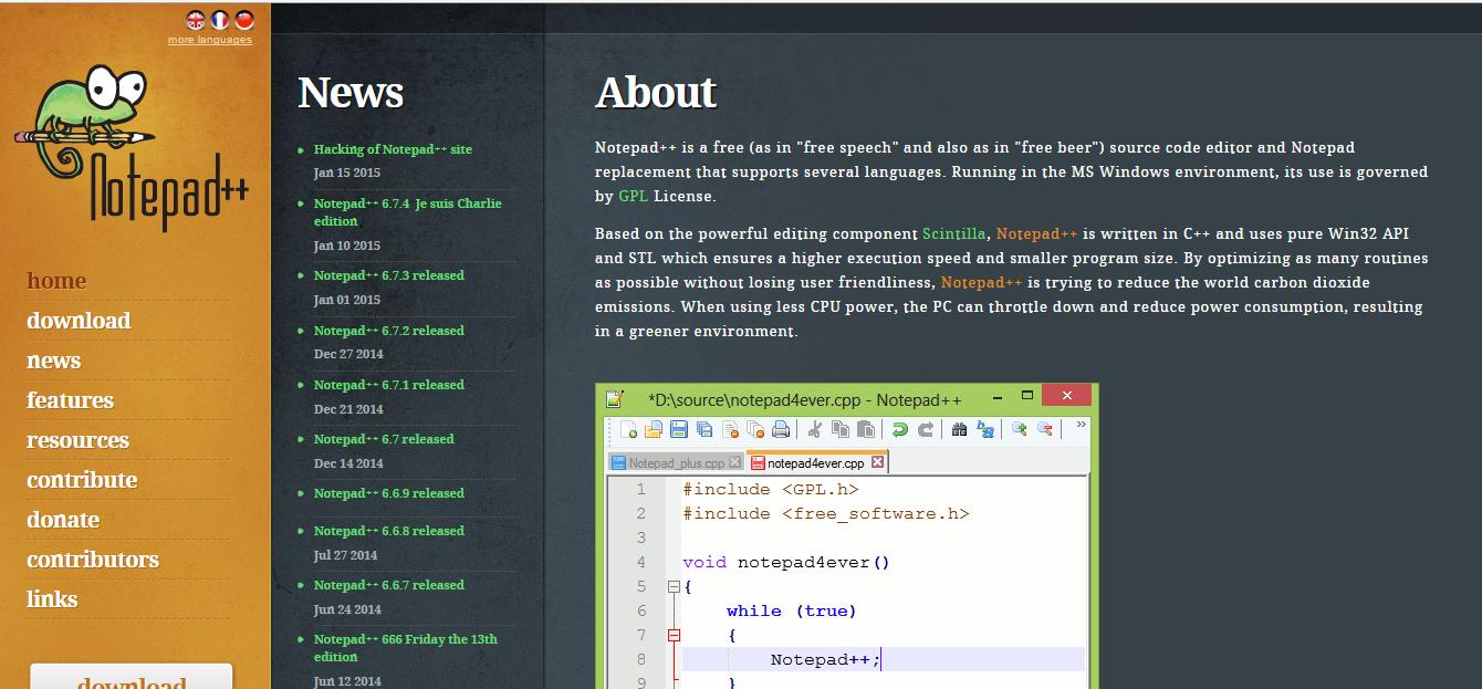 إختراق الموقع الرسمى لتطبيق notepad++ من قبل جهاديين